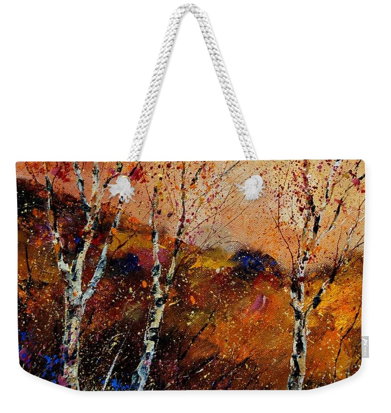 River Weekender Tote Bag featuring the painting 3 Poplars by Pol Ledent