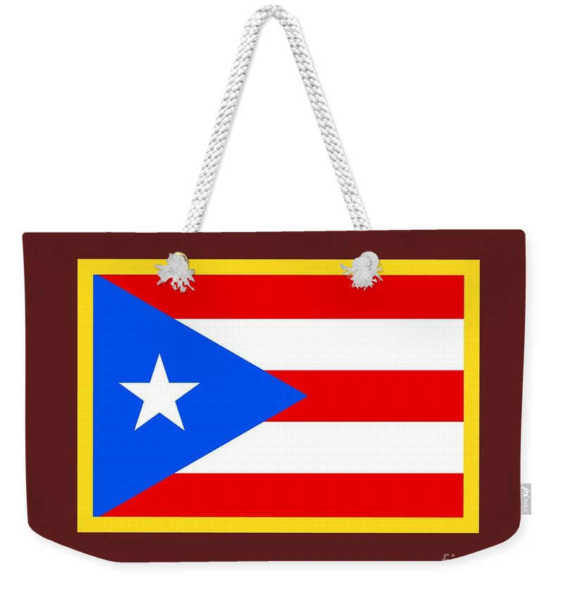 Flag Weekender Tote Bag featuring the digital art Puerto Rico Flag by Frederick Holiday
