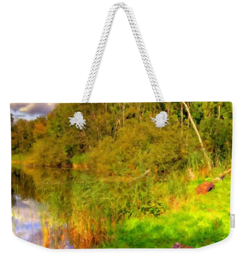 Landscape Weekender Tote Bag featuring the digital art Q Landscape by Usa Map