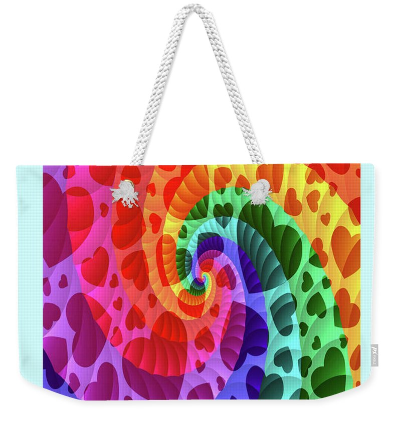 Greeting Cards Weekender Tote Bag featuring the digital art Rainbow Love by Mitchell Watrous
