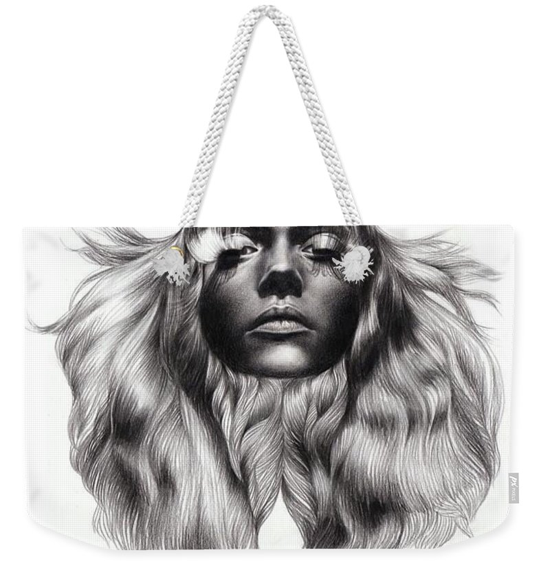 Darkness Weekender Tote Bag featuring the drawing Realistic Of Memory by Yudhit Hadi