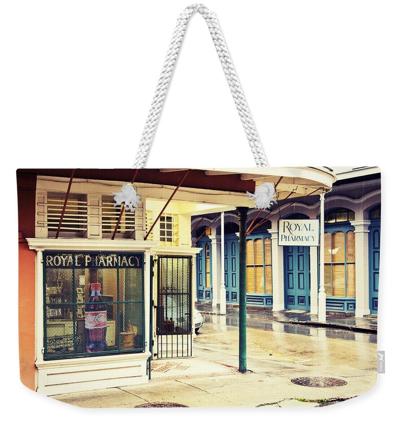 Royal Street Weekender Tote Bag featuring the photograph Royal Pharmacy by Scott Pellegrin
