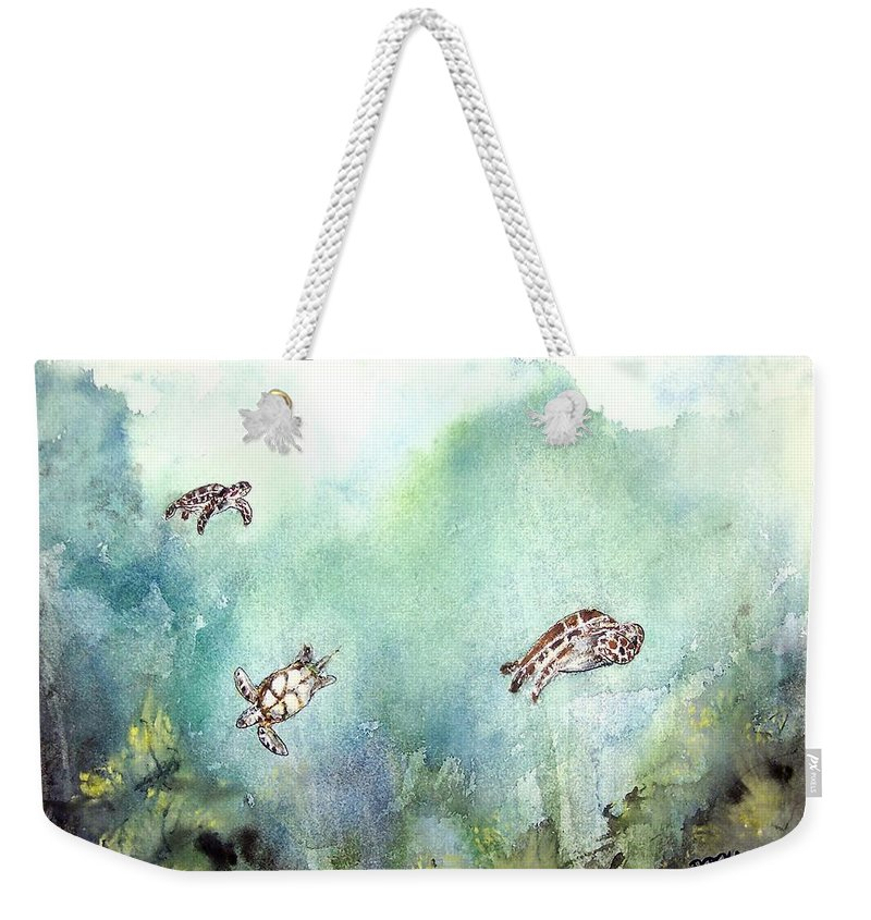 Turtle Weekender Tote Bag featuring the painting 3 Sea Turtles by Derek Mccrea