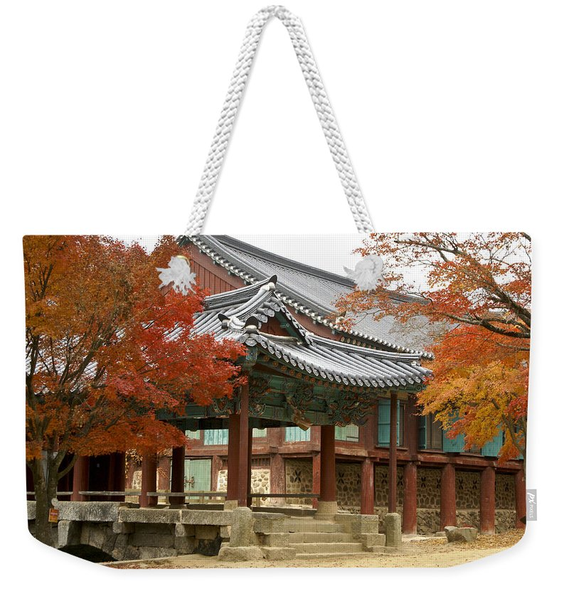 Korea Weekender Tote Bag featuring the photograph Seonamsa In Autumn by Michele Burgess