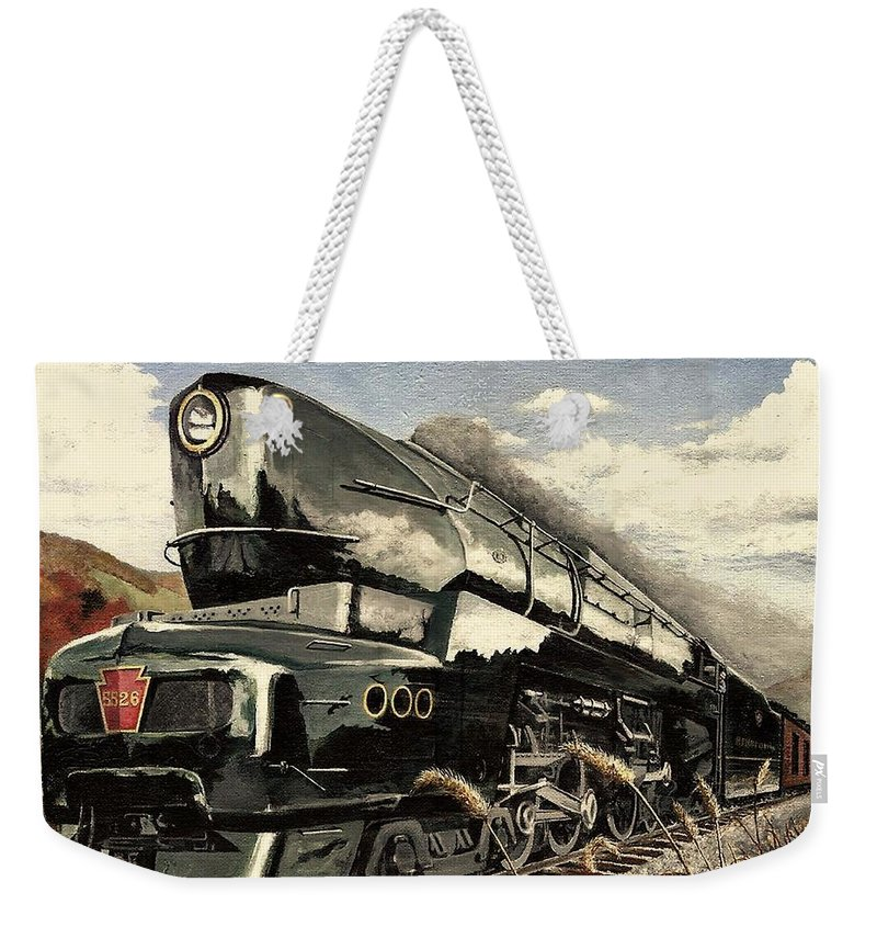 Pennsylvania Railroad Weekender Tote Bag featuring the painting Showin Off by David Mittner