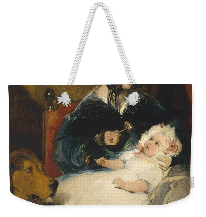 Sir Edwin Henry Landseer 1802–1873  The Duchess Of Abercorn And Child Weekender Tote Bag featuring the painting Sir Edwin Henry Landseer by MotionAge Designs