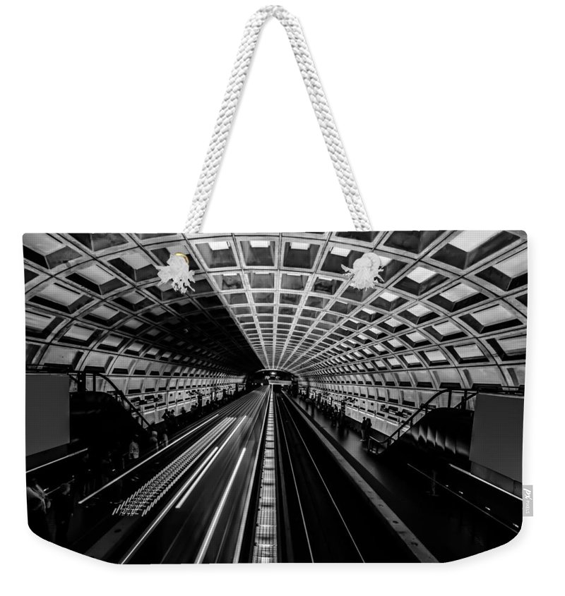 Advertising Weekender Tote Bag featuring the photograph Smithsonian Metro Station In Washington Dc by Alex Grichenko
