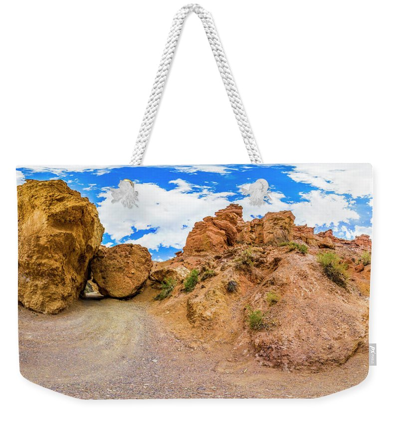 Panorama Weekender Tote Bag featuring the photograph Spherical Panorama From A Canyon Charyn by Yuliya Pravdyuk