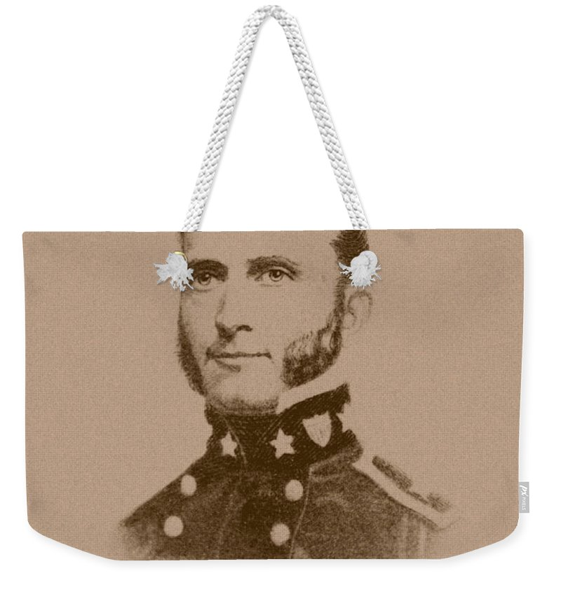 Stonewall Jackson Weekender Tote Bag featuring the drawing Stonewall Jackson - Four by War Is Hell Store