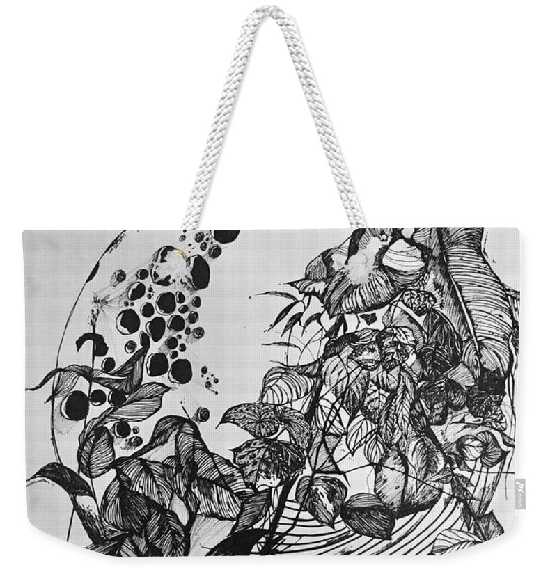 Moon Weekender Tote Bag featuring the drawing Talking To The Moon 3 by Leilei Mo