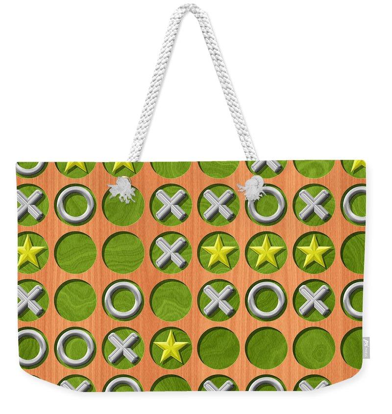 Tic Weekender Tote Bag featuring the digital art Tic Tac Toe Wooden Board Generated Seamless Texture by Miroslav Nemecek