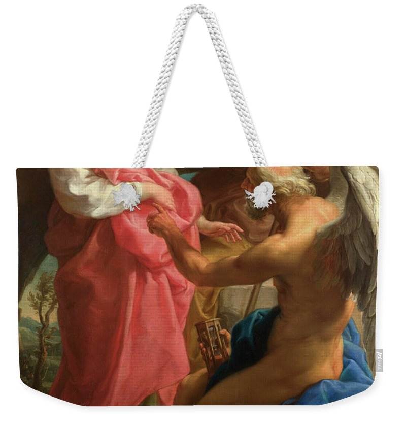 Destroy Beauty Weekender Tote Bag featuring the painting Time Orders Old Age To Destroy Beauty by Pompeo Girolamo Batoni