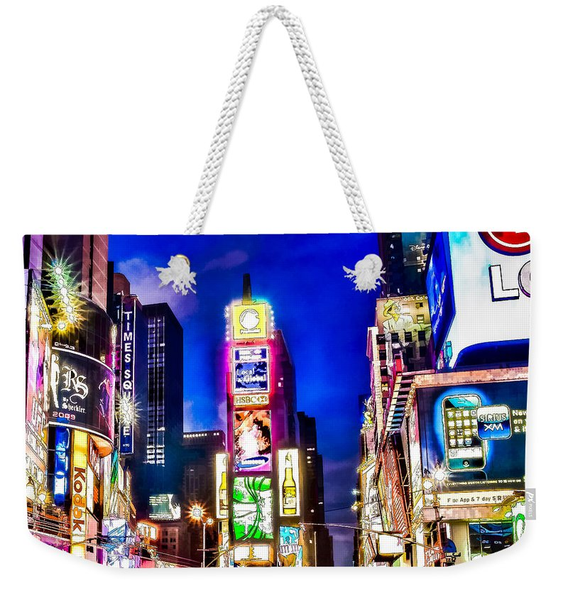 Ads Weekender Tote Bag featuring the painting Times Square by Jeelan Clark