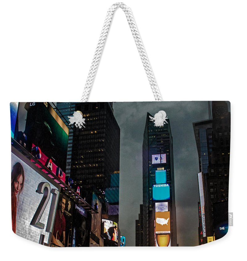 Times Square Weekender Tote Bag featuring the photograph Times Square Nyc by Martin Newman