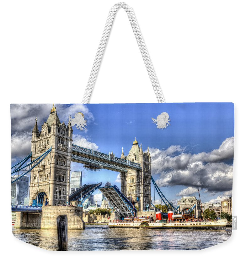 Tower Bridge Weekender Tote Bag featuring the photograph Tower Bridge And The Waverley by David Pyatt
