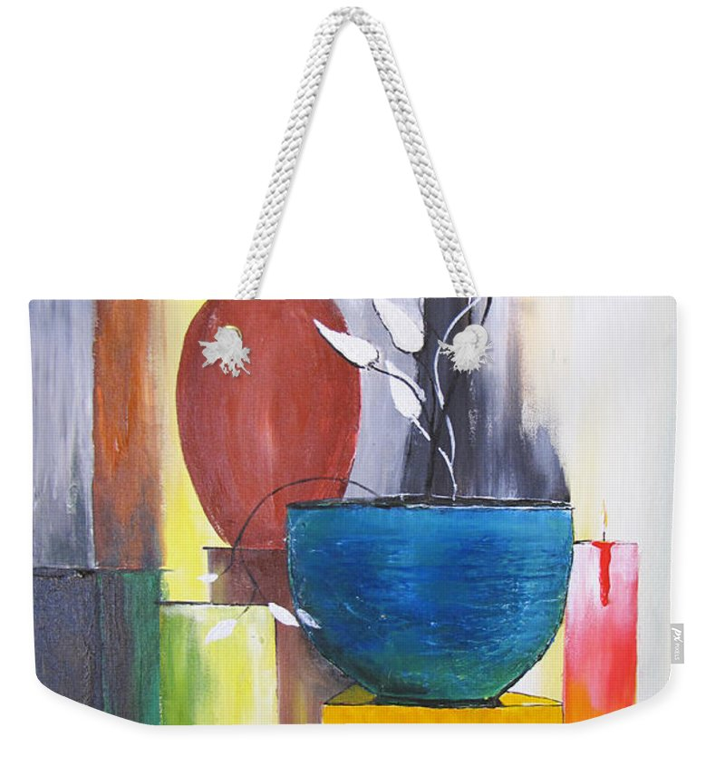 Still Life Weekender Tote Bag featuring the painting 3 Vases by Gary Smith