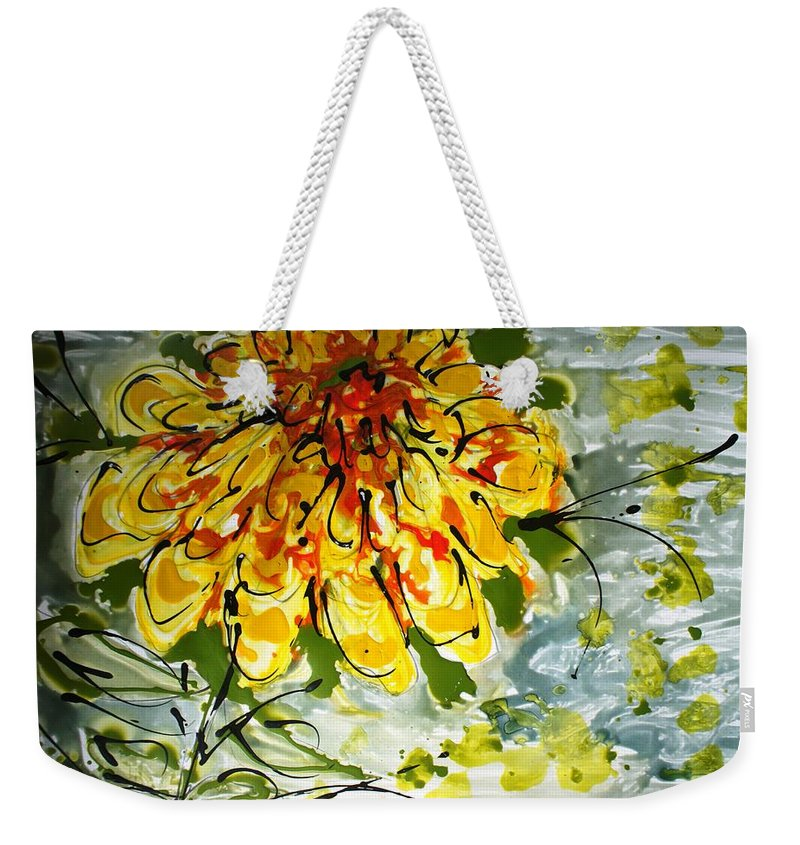 Flowers Weekender Tote Bag featuring the painting Divine Blooms by Baljit Chadha