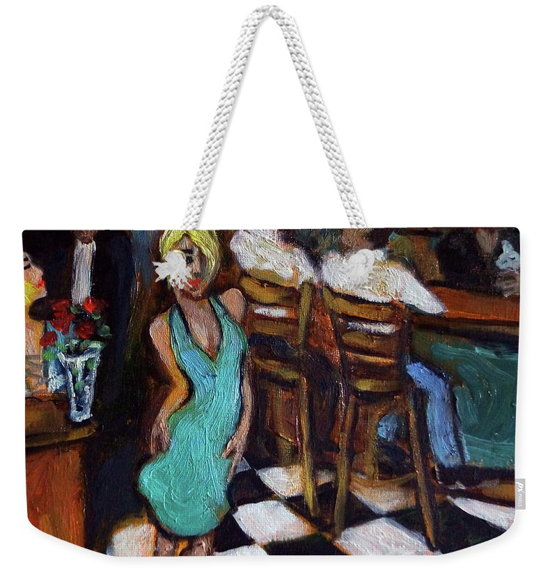 Restaurant Weekender Tote Bag featuring the painting 32 East by Valerie Vescovi