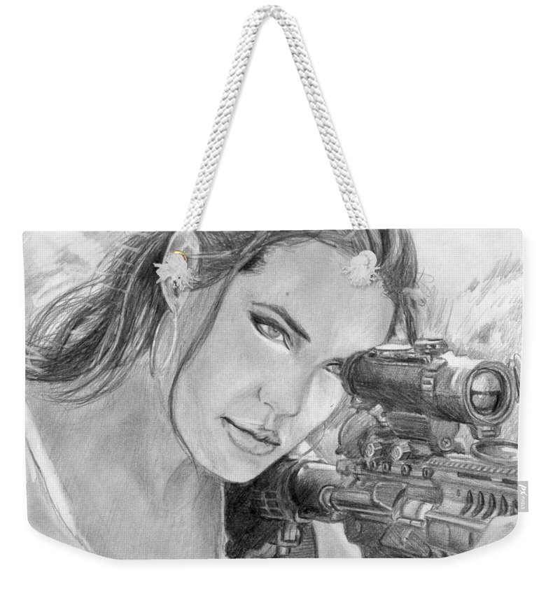 Mr. And Mrs. Smith Weekender Tote Bag featuring the drawing 32 by Kristopher VonKaufman
