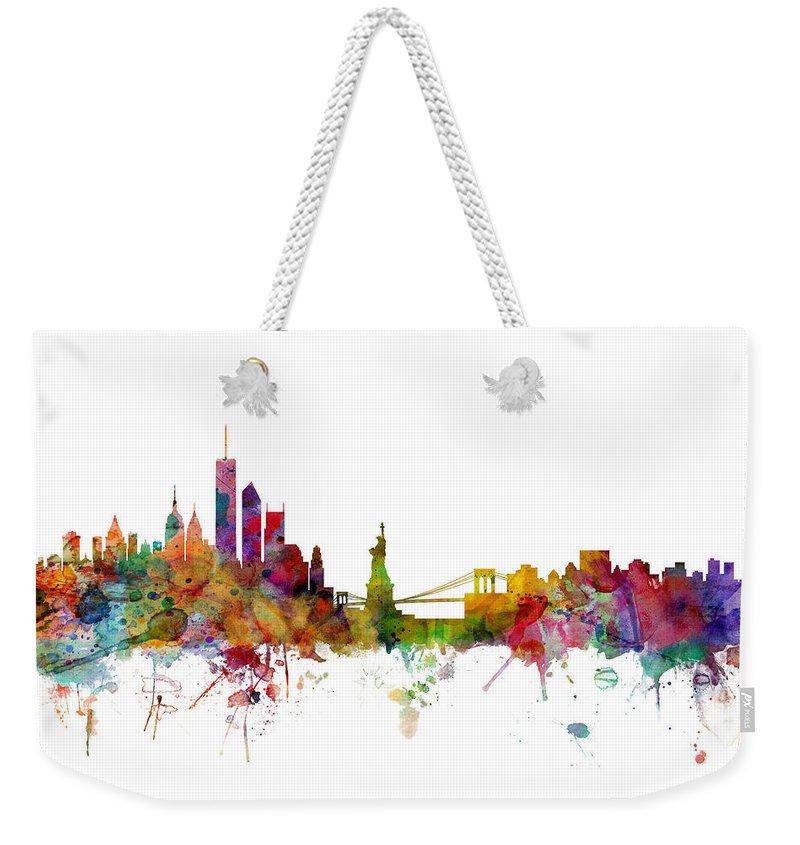 New York Skyline Weekender Tote Bags