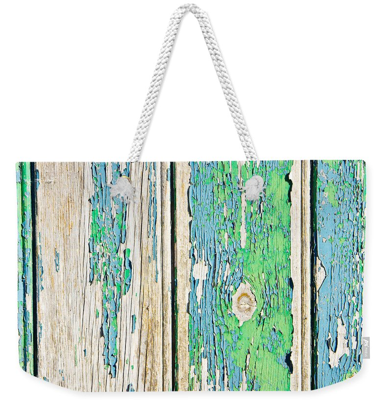 Abstract Weekender Tote Bag featuring the photograph Weathered Wood by Tom Gowanlock