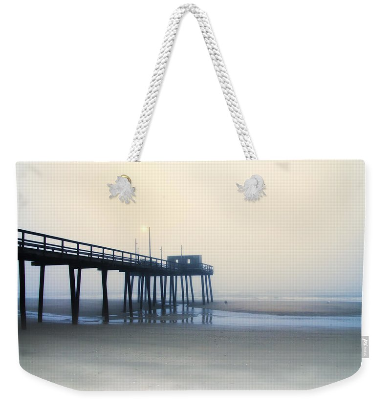 32nd Weekender Tote Bag featuring the photograph 32nd Street Pier In The Fog by Bill Cannon