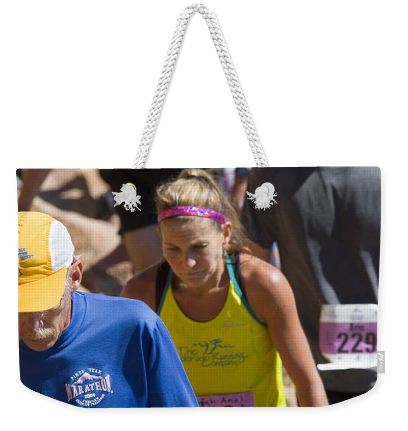 Pikes Peak Ascent Weekender Tote Bag featuring the photograph Pikes Peak Marathon And Ascent by Steve Krull