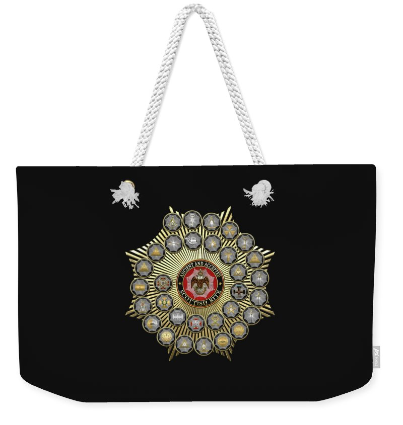 'scottish Rite' Collection By Serge Averbukh Weekender Tote Bag featuring the digital art 33 Scottish Rite Degrees On Black Leather by Serge Averbukh