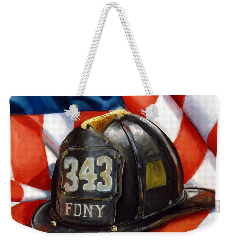 American Flag Weekender Tote Bag featuring the painting 343 by Paul Walsh