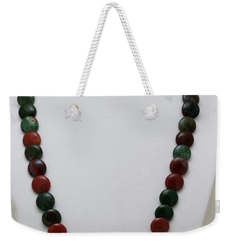 Handmade Weekender Tote Bag featuring the jewelry 3505 Fancy Jasper And Unakite Necklace by Teresa Mucha