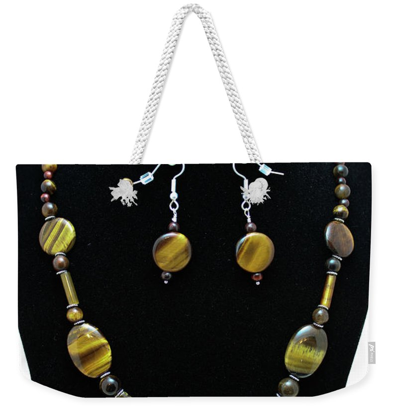 Jewelry Weekender Tote Bag featuring the jewelry 3510 Tiger Eye Set by Teresa Mucha