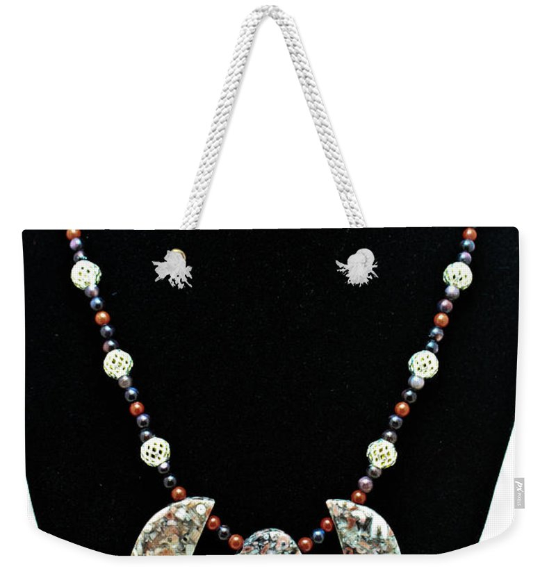 Jewelry Weekender Tote Bag featuring the jewelry 3521 Crinoid Fossil Jasper Necklace by Teresa Mucha