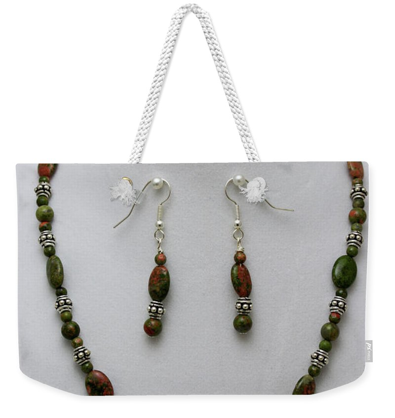 Handmade Weekender Tote Bag featuring the jewelry 3525 Unakite Necklace And Earring Set by Teresa Mucha