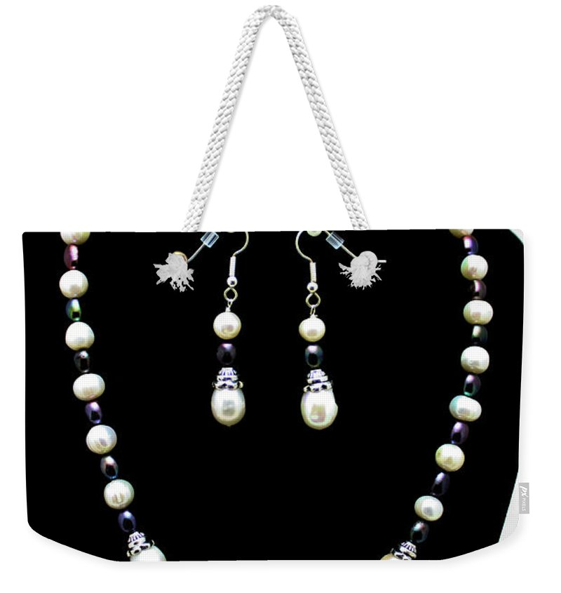 Handmade Weekender Tote Bag featuring the jewelry 3531 Freshwater Pearl Necklace And Earring Set by Teresa Mucha