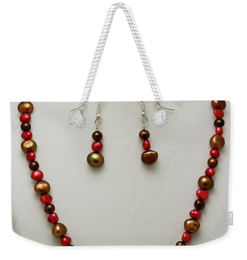Handmade Weekender Tote Bag featuring the jewelry 3536 Freshwater Pearl Necklace And Earring Set by Teresa Mucha