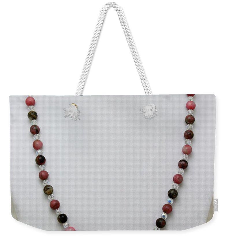 Handmade Weekender Tote Bag featuring the jewelry 3541 Rhodonite And Jasper Necklace by Teresa Mucha