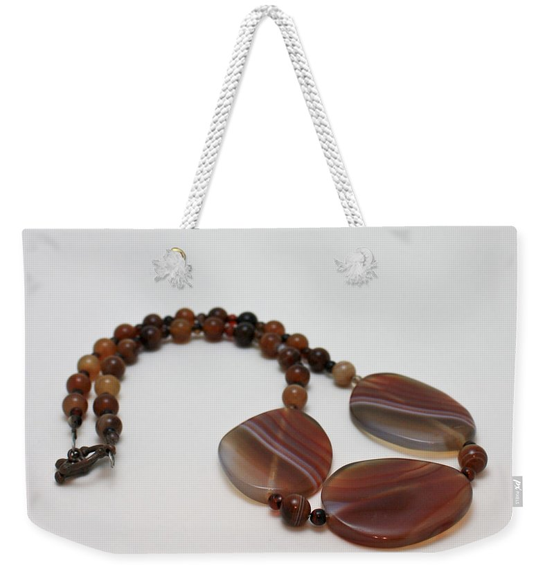 Original Weekender Tote Bag featuring the jewelry 3543 Coffee Vein Agate Necklace by Teresa Mucha