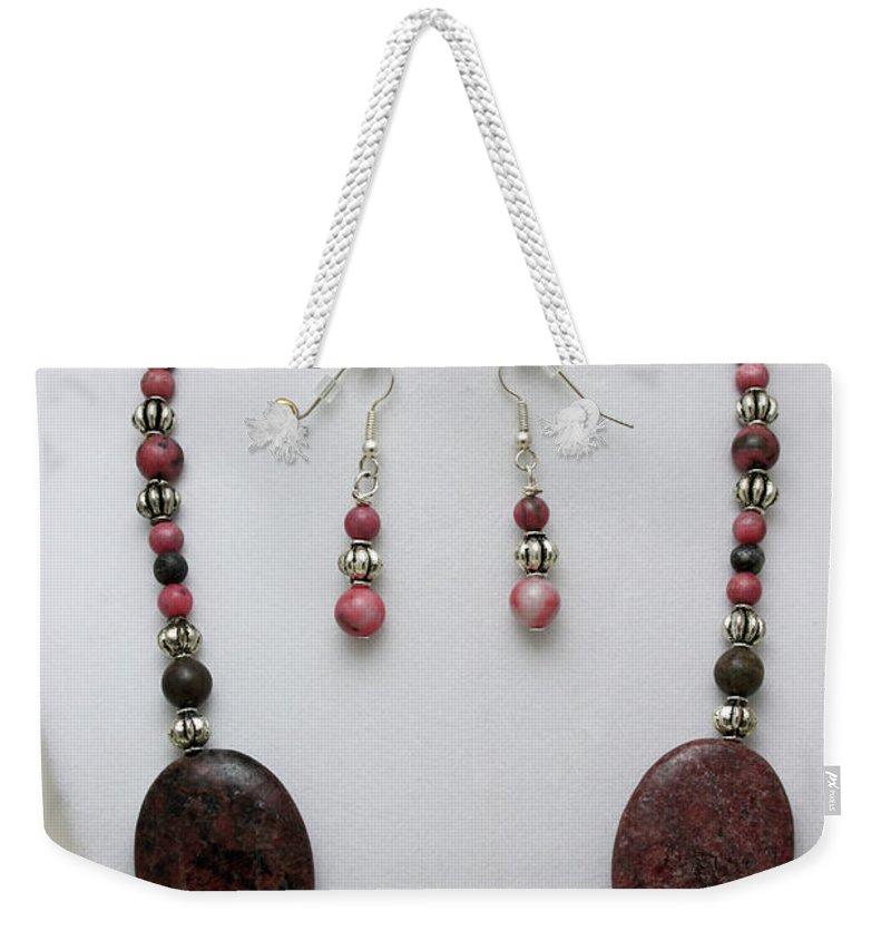 Handmade Weekender Tote Bag featuring the jewelry 3544 Rhodonite Necklace Bracelet And Earring Set by Teresa Mucha