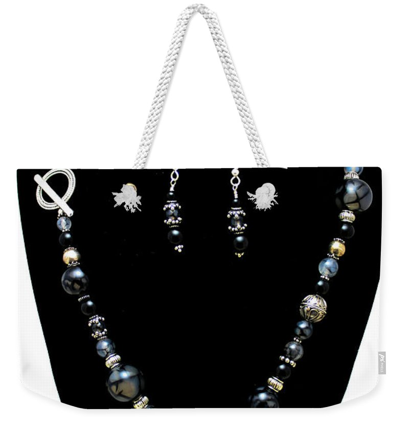 Handmade Weekender Tote Bag featuring the jewelry 3545 Black Cracked Agate Necklace And Earring Set by Teresa Mucha