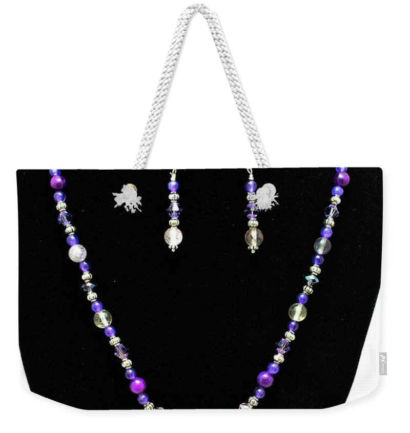 Jewelry Weekender Tote Bag featuring the jewelry 3546 Purple Veined Agate Set by Teresa Mucha
