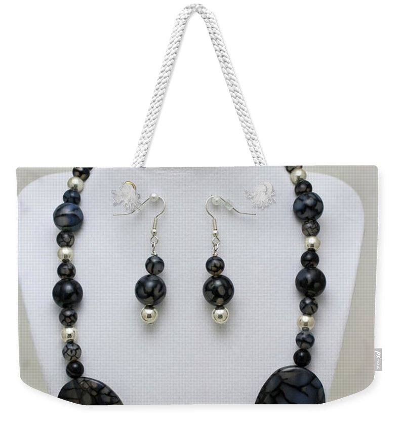 Handmade Weekender Tote Bag featuring the jewelry 3548 Cracked Agate Necklace Bracelet And Earrings Set by Teresa Mucha