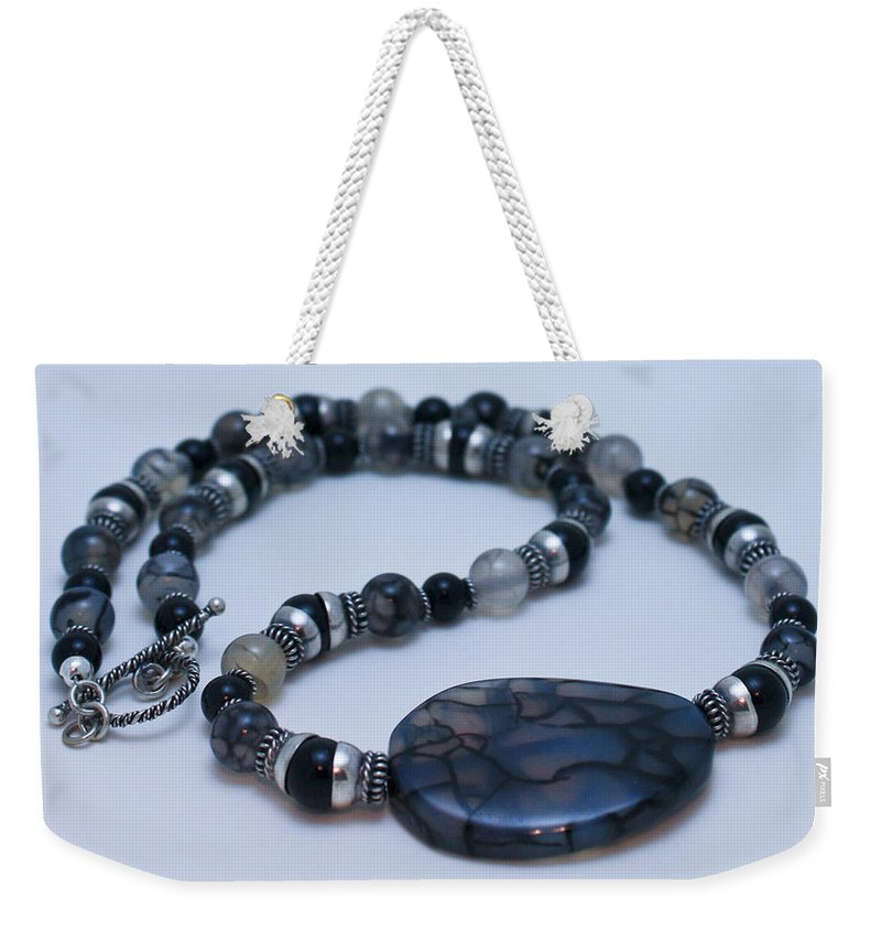 Handmade Weekender Tote Bag featuring the jewelry 3552 Cracked Agate Necklace by Teresa Mucha