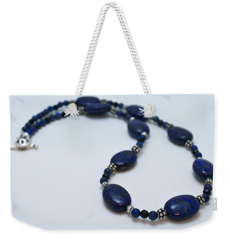 Homemade Weekender Tote Bag featuring the jewelry 3553 Lapis Lazuli Necklace And Earrings Set by Teresa Mucha