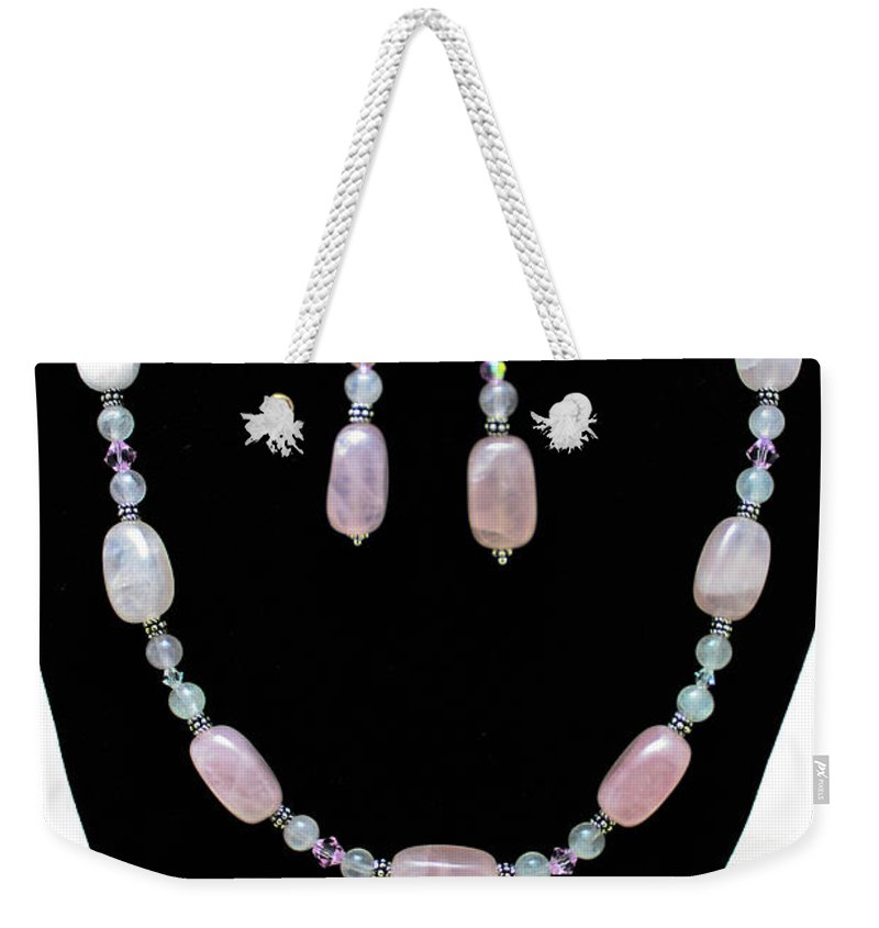Jewelry Weekender Tote Bag featuring the jewelry 3558 Rose Quartz Set by Teresa Mucha