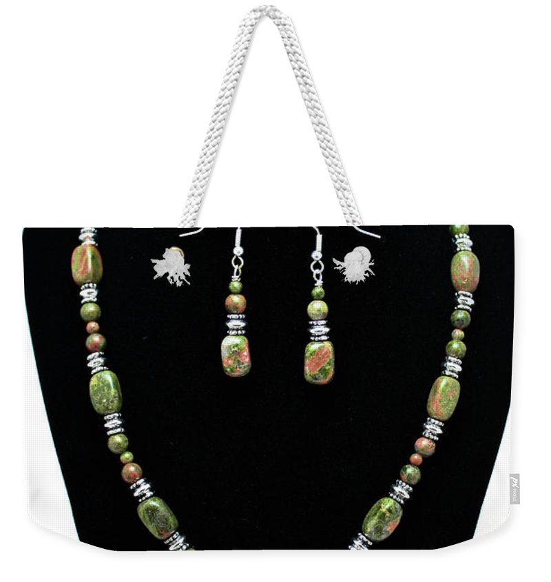 Handmade Weekender Tote Bag featuring the jewelry 3565 Unakite Necklace And Earrings Set by Teresa Mucha