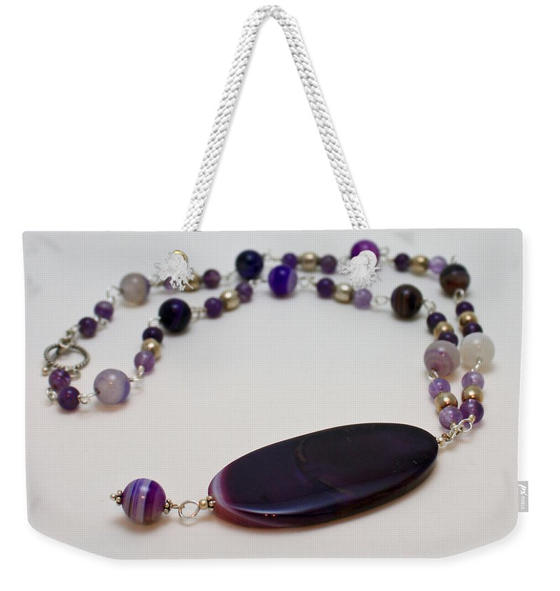 Handmade Weekender Tote Bag featuring the jewelry 3573 Banded Agate Necklace by Teresa Mucha