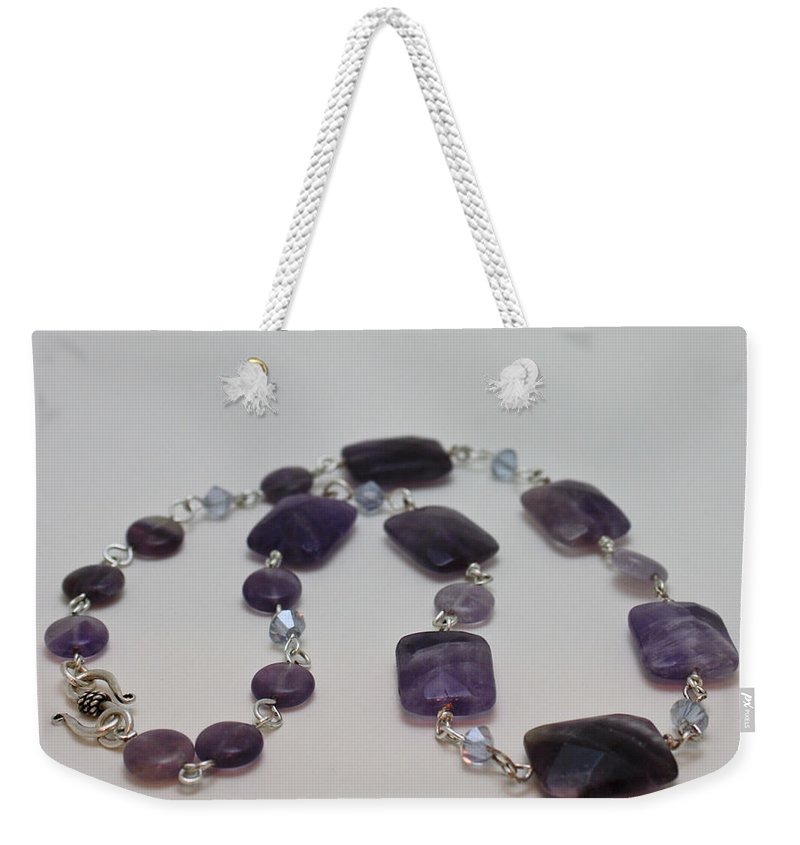 Handmade Weekender Tote Bag featuring the jewelry 3575 Amethyst Necklace by Teresa Mucha