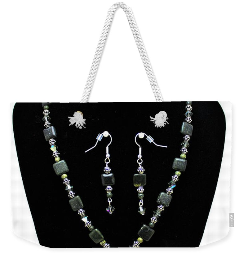 Handmade Weekender Tote Bag featuring the jewelry 3576 Kambaba And Green Lace Jasper Necklace And Earrings by Teresa Mucha