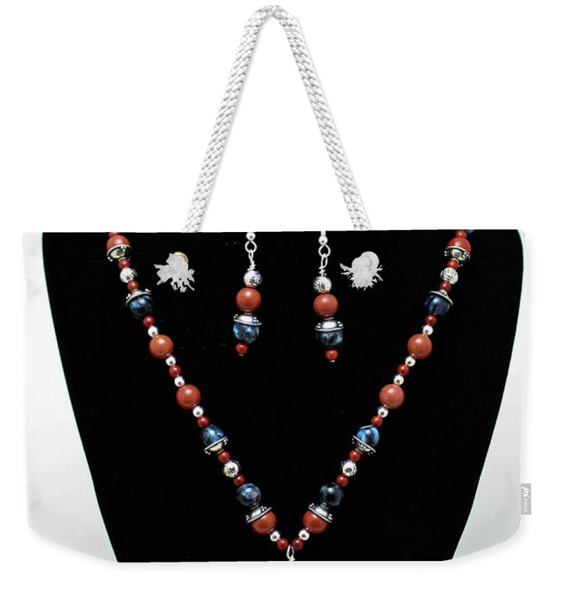 Handmade Weekender Tote Bag featuring the jewelry 3578 Jasper And Agate Long Necklace And Earrings Set by Teresa Mucha
