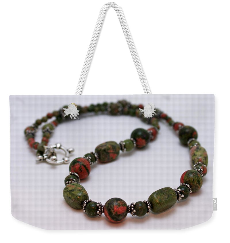 Handmade Weekender Tote Bag featuring the jewelry 3579 Unakite Necklace by Teresa Mucha
